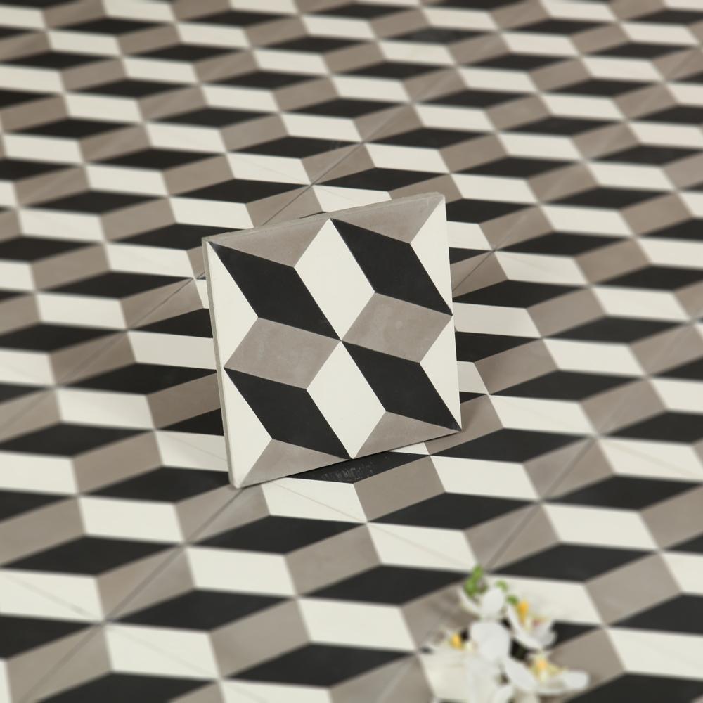 Marockanskt kakel nador black & white 20x20   kakel online tiles r ...