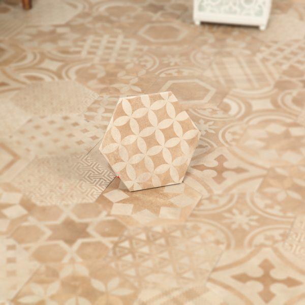 Klinker Hexagon Patchwork Beige 20X23