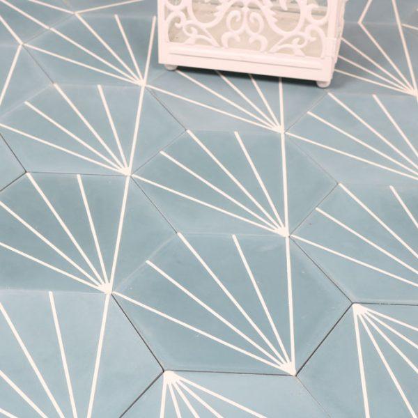 Marockanskt Kakel Heksagon Zagora Blue 20X23,2