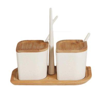 2 stycken kanister i bambu komplett