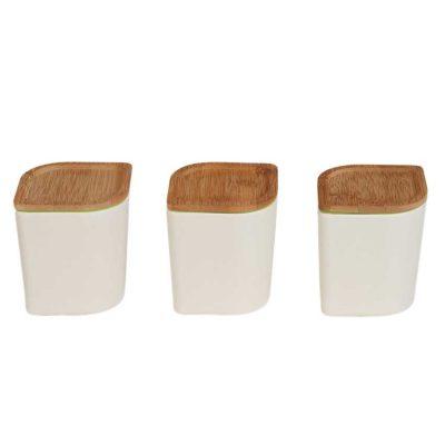 3 stycken Kanister med lock i bambu