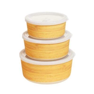 Bambu matlådor rund