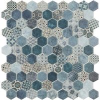 Glasmosaik Osuna Mix Blue Hex 31,7X30,7