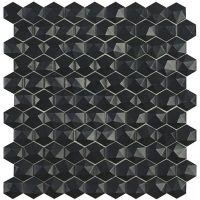 Glasmosaik Matt Black Hex D 31,7X30,7