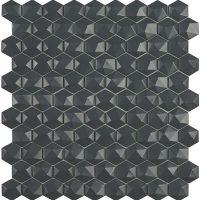 Glasmosaik Matt Dark Grey Hex D 31,7X30,7