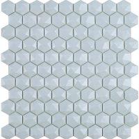 Glasmosaik Matt Light Blue Hex D 31,7X30,7