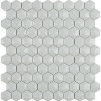 Glasmosaik Matt Light Grey Hex D 31,7X30,7
