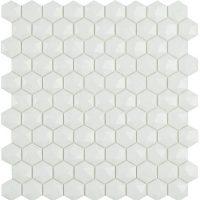 Glasmosaik Matt White Hex D 31,7X30,7
